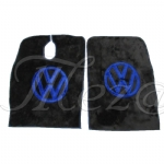 TAPETE CHINIL VW CONSTELLATION PRETO C/ BORDADO AZUL